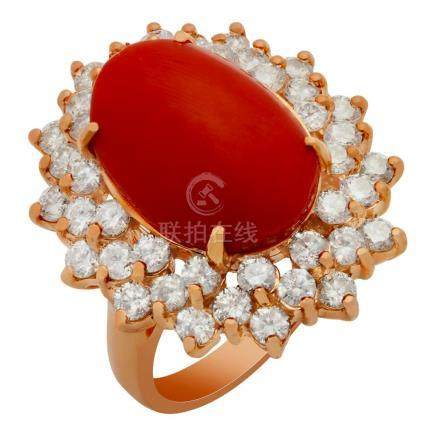 14k Rose Gold 6.43ct Coral 2.43ct Diamond Ring