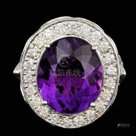 14K White God 7.19ct Amethyst and 1.86ct Diamond Ring