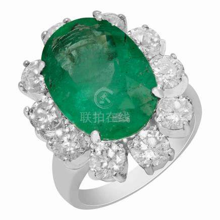 14k White Gold 8.99ct Emerald 3.89ct Diamond Ring