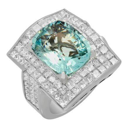 14k White Gold 7.82ct Aquamarine 7.09ct Diamond Ring