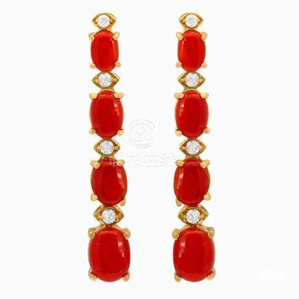 14k Yellow Gold 7.99ct Coral 0.46ct Diamond Earrings