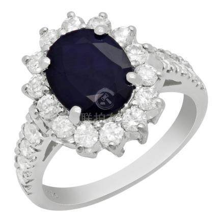 14k White Gold 2.39ct Sapphire 1.14ct Diamond Ring