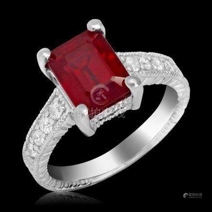14k White Gold 5.90ct Ruby 0.32ct Diamond Ring