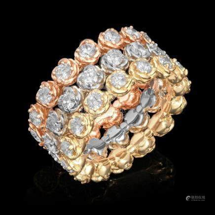 14k Yellow, White & Rose Gold 3.33ct Diamond Ring Set