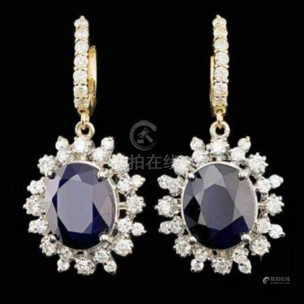 14K Yellow and White Gold 12.79ct Sapphire 2.27ct Diamond Ea