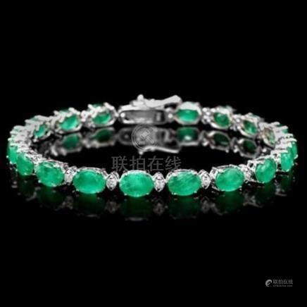 14K Gold 13.31ct Emerald 0.80ct Diamond Bracelet