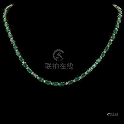 14K Gold 22.07ct Emerald 0.95ct Diamond Necklace
