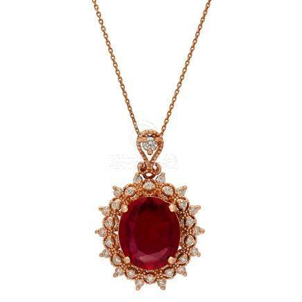 14k Rose Gold 7.15ct Ruby 0.91ct Diamond Pendant