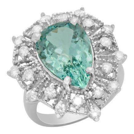 14k White Gold 5.57ct Aquamarine 0.97ct Diamond Ring