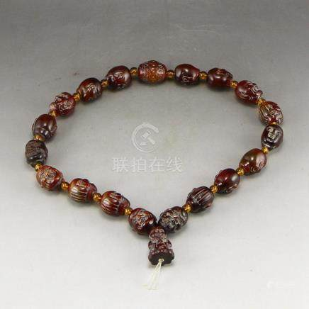 Chinese Ox Horn Carved Arhat Bracelet