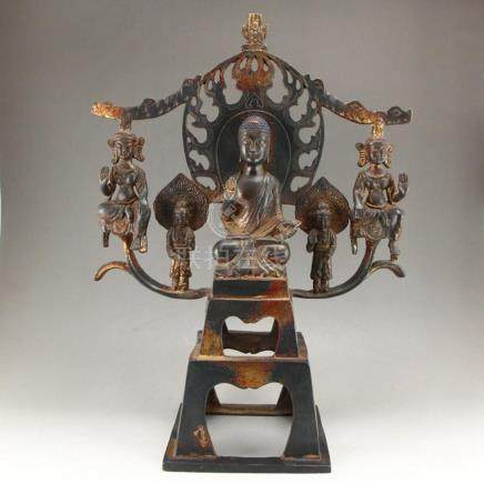Chinese Beiwei Period Gilt Gold Bronze Sakyamuni Statue