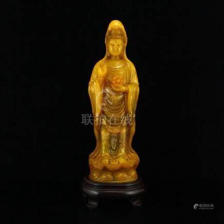 Chinese Qing Dynasty Gilt Gold Shoushan Stone Kwan-yin Statu