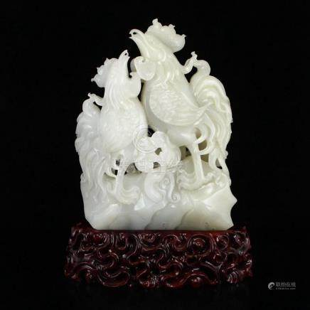 Superb Chinese Hetian Jade Statue - Roosters