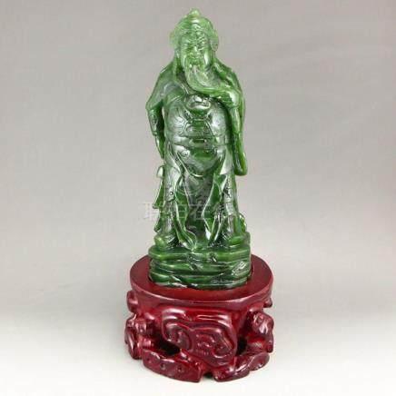 Chinese Natural Green Hetian Jade Guangong Statue