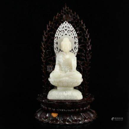Superb Chinese Qing Dynasty Hetian Jade Siddhartha Buddha St