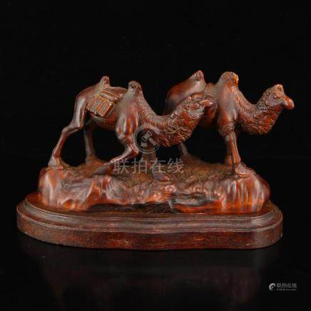 Vintage Chinese Boxwood Wood Camels Statue