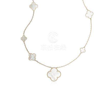 VAN CLEEF & ARPELS 'MAGIC ALHAMBRA' MOTHER-OF-PEARL LONG NECKLACE