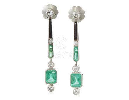 EMERALD, DIAMOND AND ONYX EARRINGS