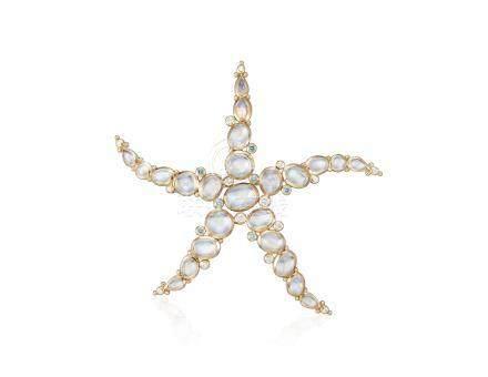 TEMPLE ST. CLAIR MOONSTONE, DIAMOND AND COLORED DIAMOND STARFISH PENDANT BROOCH