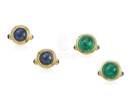 GROUP OF SAPPHIRE AND EMERALD CUFFLINKS