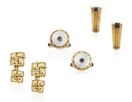 GROUP OF MULTI-GEM AND GOLD CUFFLINKS