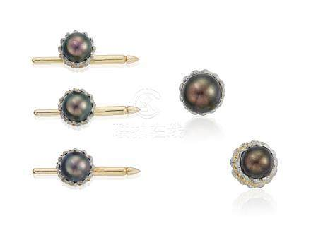 TIFFANY & CO. SCHLUMBERGER 'ACORN' CULTURED PEARL AND DIAMOND DRESS SET