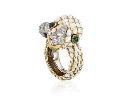DAVID WEBB ENAMEL AND DIAMOND 'SNAKE' RING