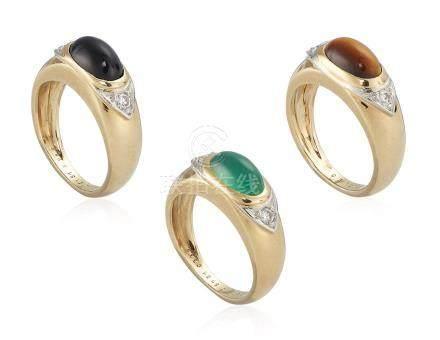 VAN CLEEF & ARPELS SET OF MULTI-GEM AND DIAMOND RINGS
