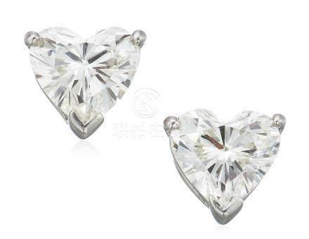 TIFFANY & CO. HEART SHAPED DIAMOND STUD EARRINGS