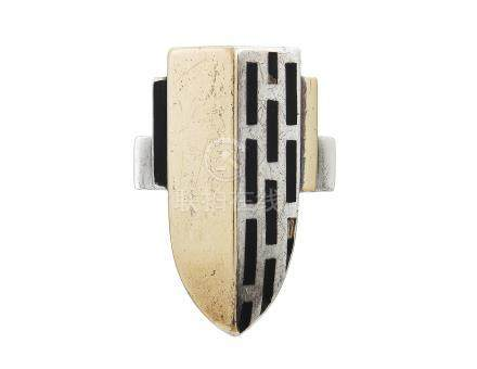 JEAN DESPRÉS ONYX AND SILVER RING