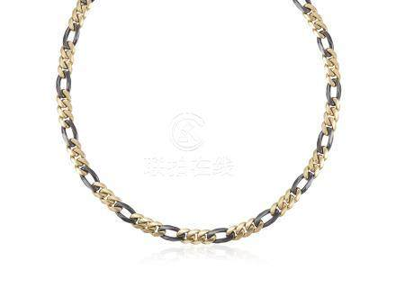 BULGARI GOLD AND STEEL LINK NECKLACE
