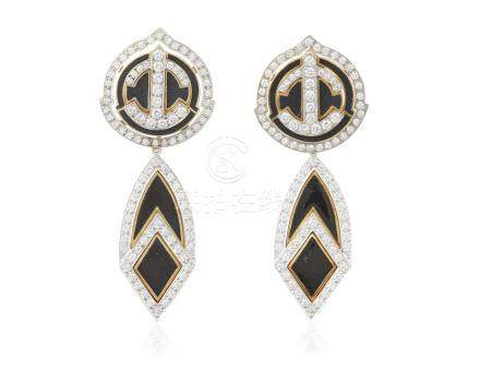 DAVID WEBB DIAMOND AND ENAMEL EARRINGS