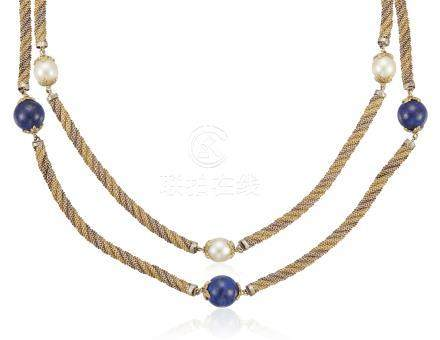 BUCCELLATI MULTI-GEM AND TWO-TONE GOLD NECKLACES