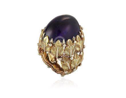BUCCELLATI AMETHYST AND GOLD RING
