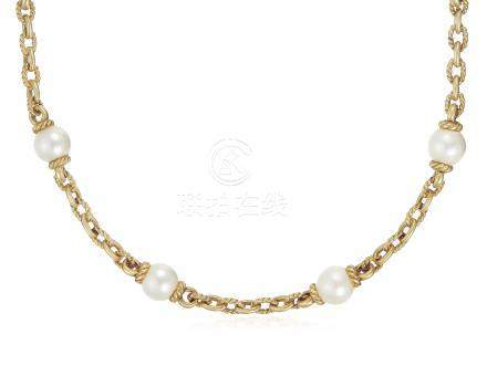 CULTURED PEARL AND GOLD NECKLACE