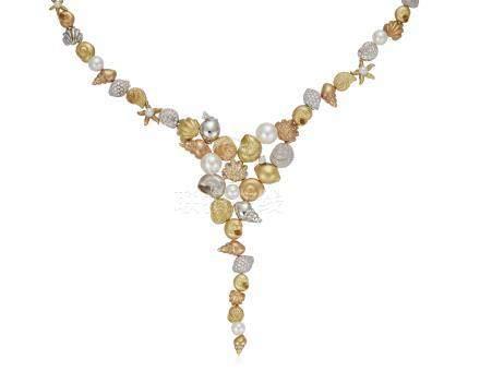 PAUL MORELLI DIAMOND, COLORED DIAMOND AND CULTURED PEARL NECKLACE