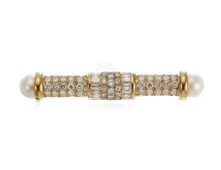 CULTURED PEARL AND DIAMOND BROOCH