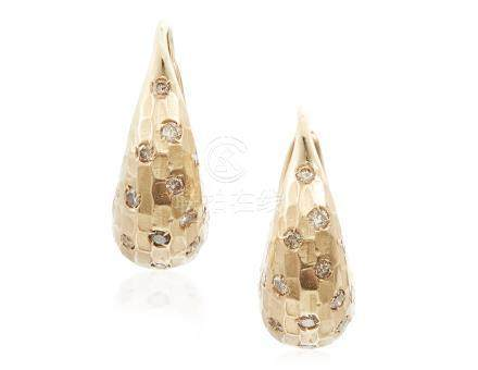 POMELLATO GOLD AND COLORED DIAMOND HOOP EARRINGS
