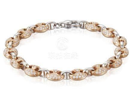 DIAMOND AND TWO-TONE GOLD BRACELET