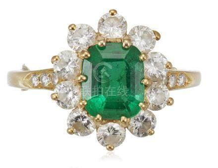 KURT WAYNE EMERALD AND DIAMOND RING