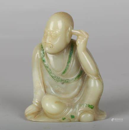 CHINESE SOAPSTONE CARVED LOHAN