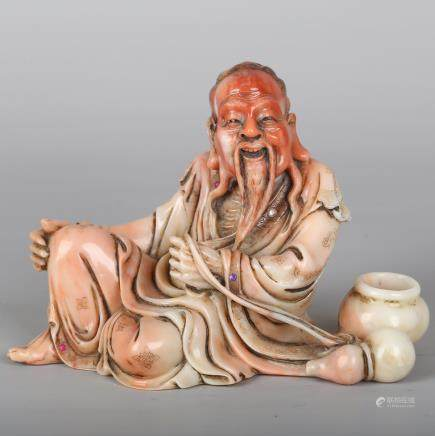 CHINESE SOAPSTONE CARVED IMMORTAL
