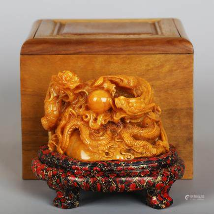 CHINESE SOAPSTONE CARVED DRAGON WITH STAND