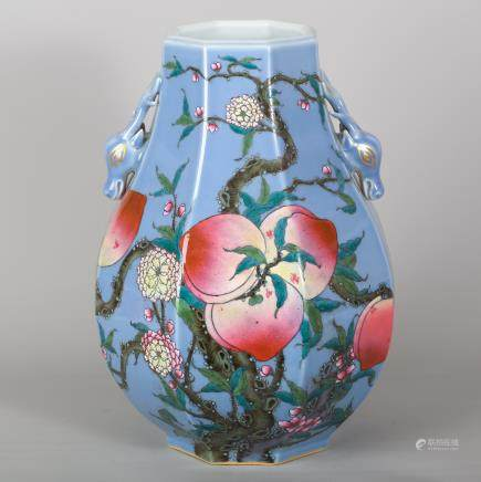 CHINESE FAMILLE ROSE 9 PEACH PORCELAIN VASE