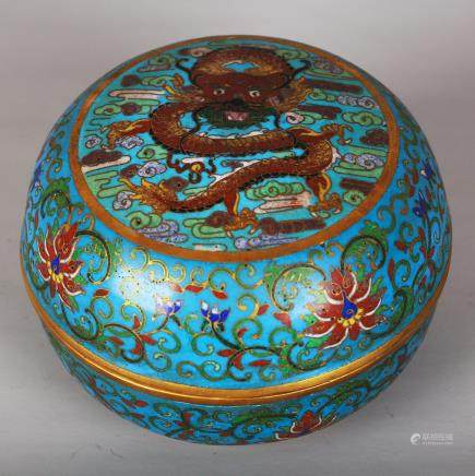 CHINESE CLOISONNE DRAGON COVER BOX