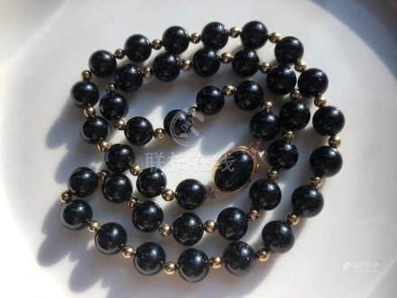 Vintage Black Onyx Beads Necklace