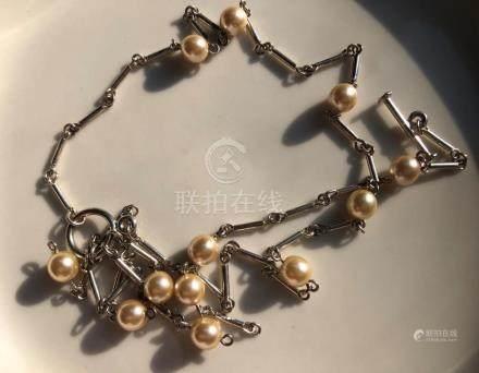 Vintage Silver Pearl Necklace