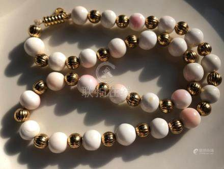 Vintage Pink Coral Beads Necklace