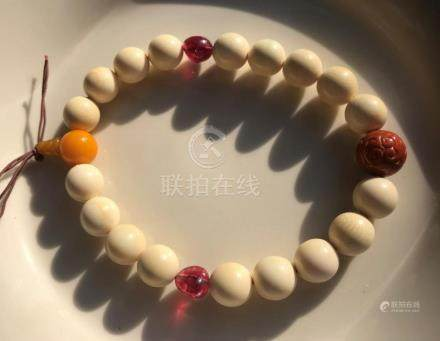 Antique nanhong, Tourmaline Beads Buddha Prayer Beads