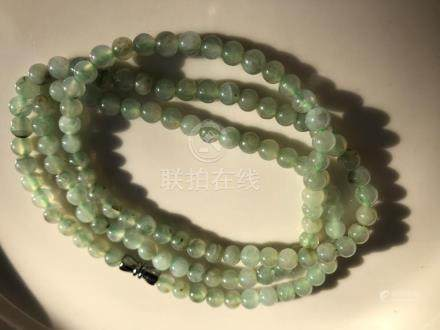 Natural Green Jadeite Beads Necklace
